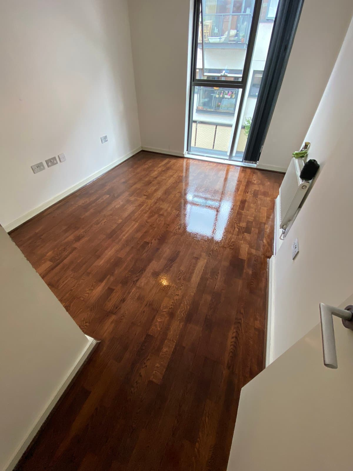 completely sanded and polished wooden floor